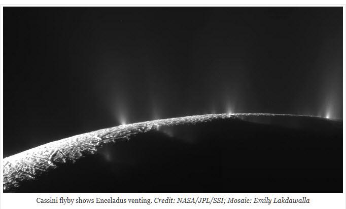 Cassini flyby Enceladus venting